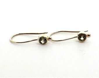 Green Sapphires in 14K White Gold Earrings