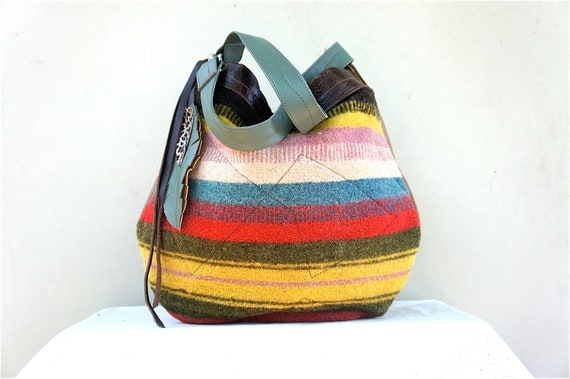 Agatha// in Southwestern Wool Blanket with Distressed Oil Tanned, Teal, and Camel Leather Accents/Two-Way Strap