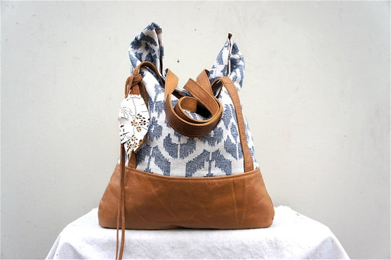 FOR JuNe/ Luella in IKAT Denim and Camel Brown Leather Accents