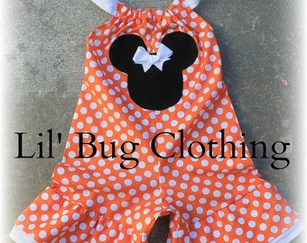 Custom Boutique Clothing Minnie  Tangerine Halloween Mouse Mouse Shortall