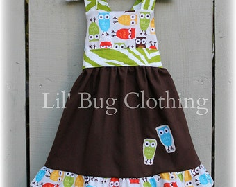 Back To School Girl Dress, Back To School Girl Outfit, Fall Owl Girls Dress Outfit, Boutique Girl Owl Jumper Dress
