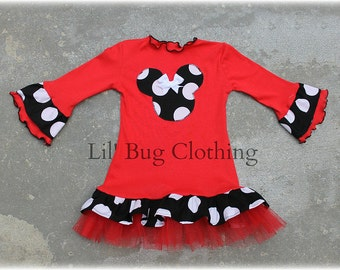 Custom Boutique Red Comfy Knit Black White Jumbo Dot Minnie Mouse Dress