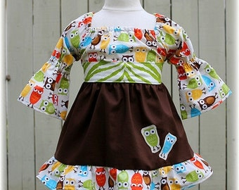 Custom Boutique Clothing Cocoa Lime Zebra Fall Owl Peasant Dress