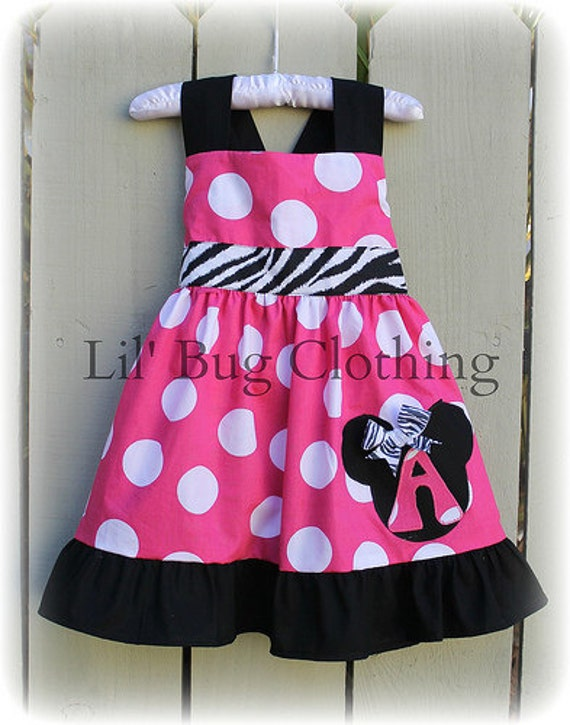 Hot Pink Minnie Mouse Jumbo Dot Jumper Dress Personalized Girl