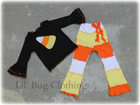 2T ONLY On sale Now Halloween Candy Corn  Tee Top Custom Boutique Clothing White Yellow Orange Lettuce Edge Comfy Knit Top and Leggings