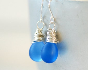 Cornflower Blue Glass Earrings, Periwinkle Blue, Blue Wedding, Frosted Glass Earrings, Wrapped Sterling Silver