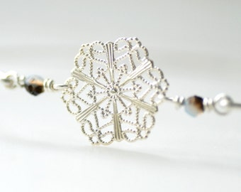 Silver Snowflake Bracelet, Bangle Bracelet, Filigree Snowflake, Winter Wedding, Winter Jewelry, Nature Jewelry, Snow, Winter Wedding - Melt