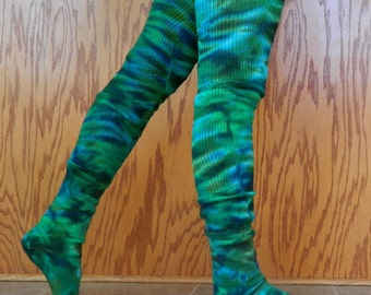 EMERALD GREEEN Cotton Thigh High Leg Warmer Socks