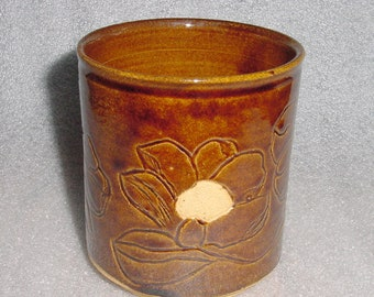 Wheel Thrown Wine Cooler and/or Kitchen Utensil Holder with Etched Poppies