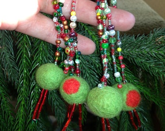4 OLIVES STRUNG on a Hanging Beaded Loop - Special colors of designer glass beads and seed beads