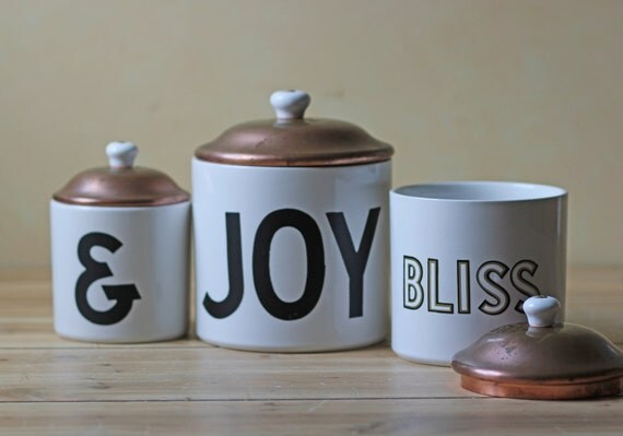 vintage JOY and BLISS porcelain canisters