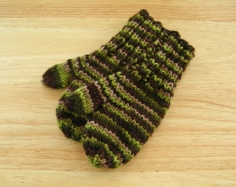 Child Wool Mittens Small Hand Knit Forest
