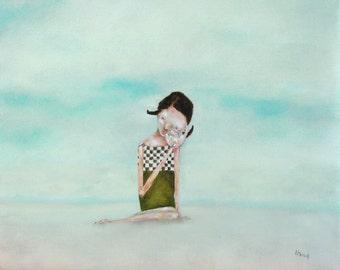 "Kids decor art print. aqua summer girl portrait with seashell giclee art print. ""Seafaring Tales"""