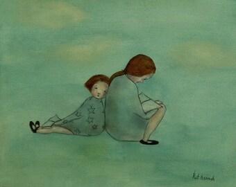 "Giclee art print Girls room art print. kids decor. ""Stories. Mae and Bebe"""