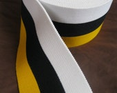 yellow, black, and white extra wide striped elastic, 2 1/2 inches wide