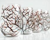 Autumn Tree Wine Glasses - Set of 4 Hand Painted Stemless Wine Glasses