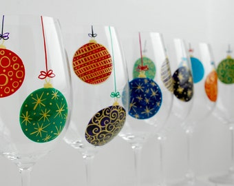 Christmas Ornaments Wine Glasses - 6 Piece Hand Painted Holiday Glassware Collection