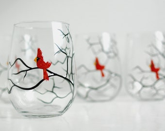 Christmas Cardinals Stemless Wine Glasses - Set of 6 Hand Painted Wine Glasses, Christmas Glasses, Cardinal Glasses, Hand Painted Bird Glass