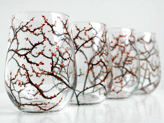 Autumn Tree Wine Glasses - Set of 4 Hand Painted Stemless Wine Glasses