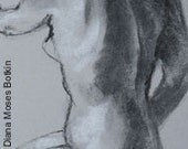Original charcoal and chalk nude drawing, 18x12 inch -- BACK TURN --  figure sketch, unframed, by Diana Moses Botkin