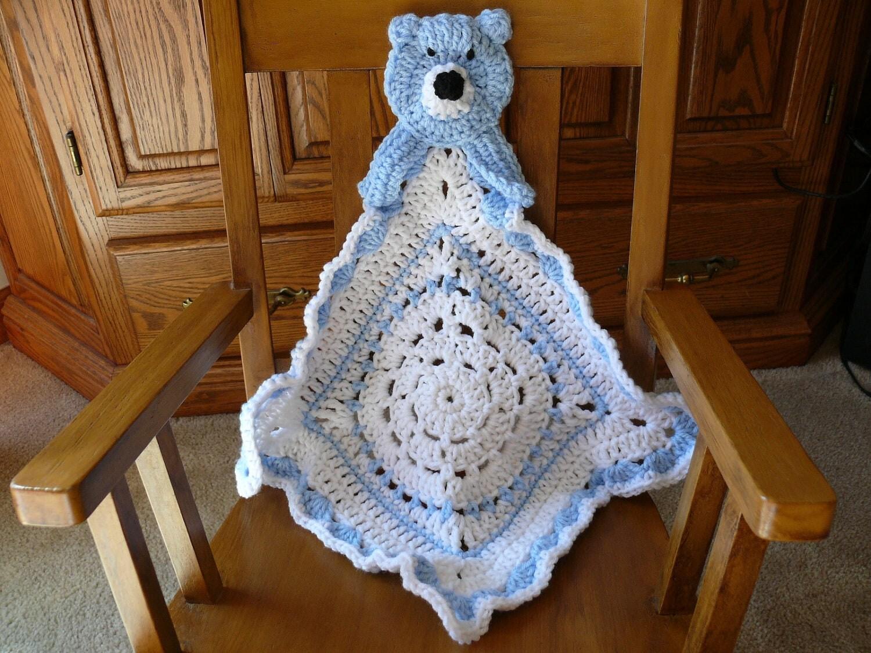 Crochet Baby Blanket Lovey Size Light Blue Teddy Bear
