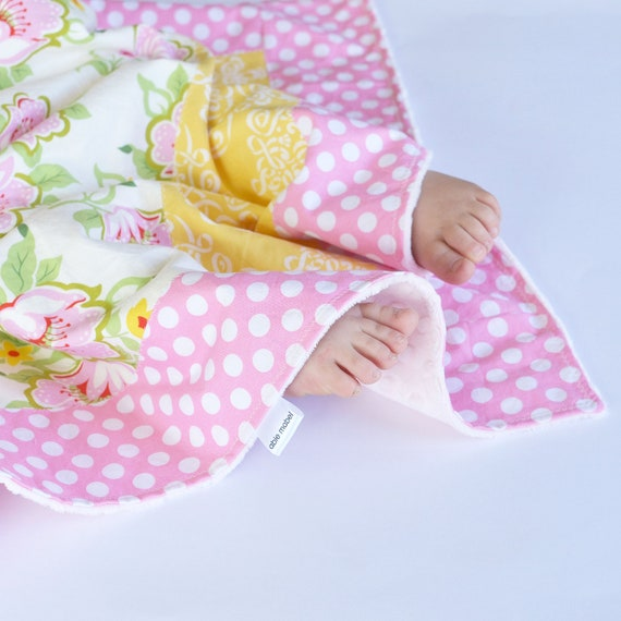 Baby Girl Minky Blanket, Small Patchwork Blanket, Floral and Yellow