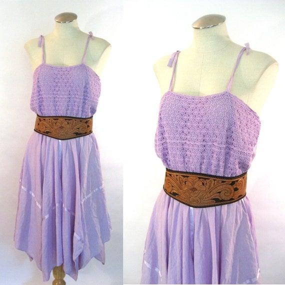 vintage 70s Lavender  Dress / Crochet Lace Pixie Dress / Bohemian Gauze Dress