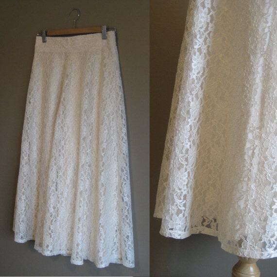 vintage SALE / Lace Skirt / Boho Clothing / Circle Skirt /