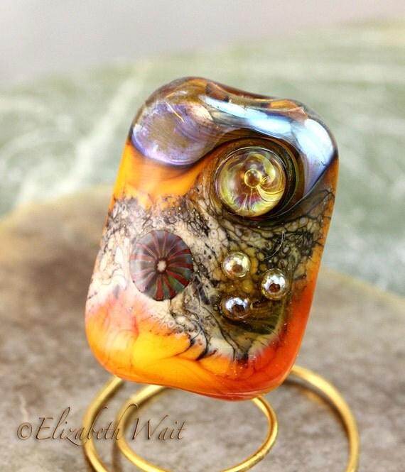 Pumpkin Silvered Ivory Organic Focal 639 betsybeads Handmade Glass Beads Lampwork Beads SRA