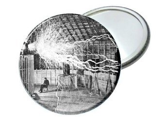 Pocket Mirror- Nikola Tesla 2.25""