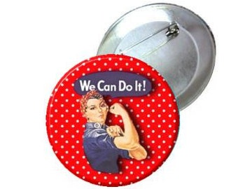 "1"" 1.25"" 2.25"" Pinback Button - Red Polka Dot Rosie the Riveter"