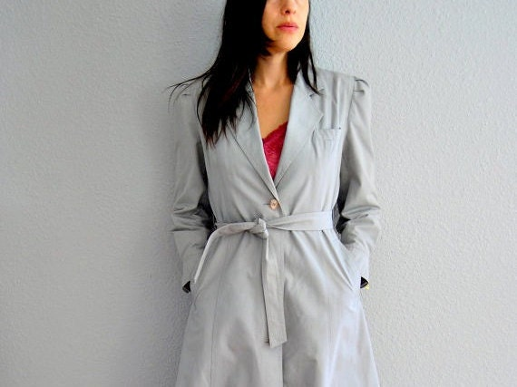 vintage PRINCESS trench / gray wool lined 1970s puff sleeve SPY coat