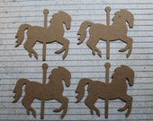 4 Bare/Unfinished chipboard die cut small Carousel HORSE diecuts 3 1/8 inches  x 2 7/8 inches