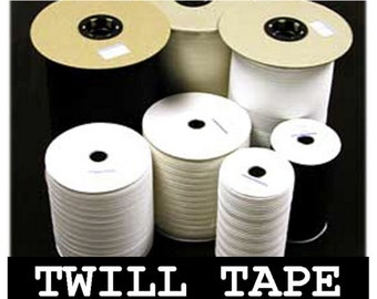 "10 Yards - 1/2"" - Lightweight Cotton Twill Ribbon Tape, 1/2 inch - Natural, Black or White"