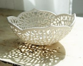 Very Small Carved Porcelain Lace Bowl