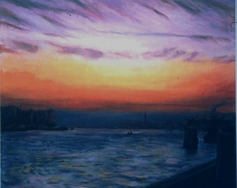 Twilight,  A Framed Italian Landscape  36 by 40 inches framed