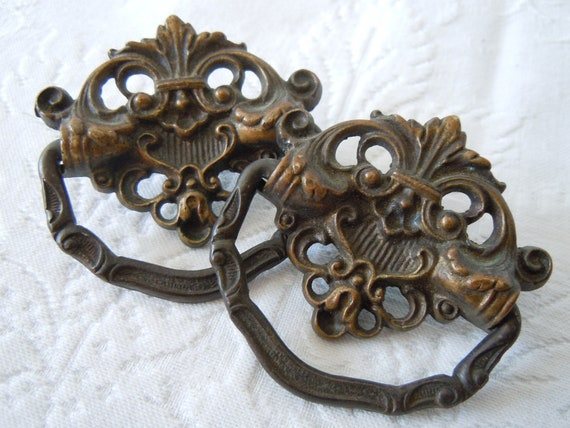 vintage bureau drawer pulls handles hardware a little