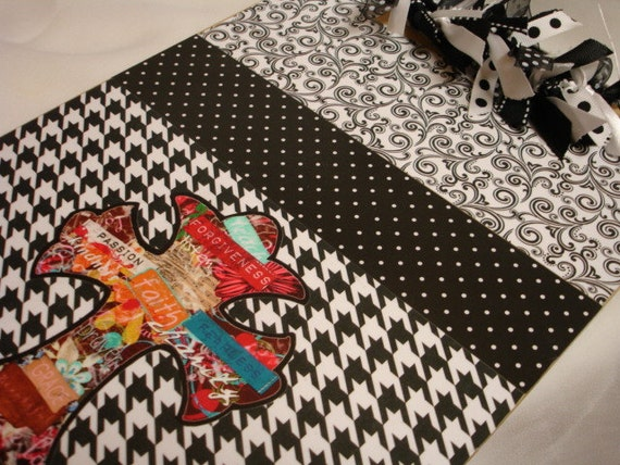 HOUNDSTOOTH CROSS decorated CLIPBOARD