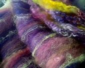 SALE buy 3 get 1 free 4 oz. merino wool locks firestar hand dyed batt PLUM