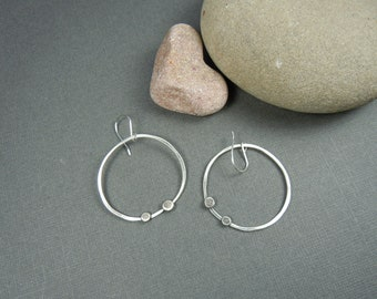 Simple Modern Sterling Circle Earrings with Recycled Sterling Dots