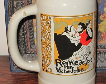 Art Nouveau Vase in the form of an Extra Large Mug - Toulouse Lautrec - Queen of Pleasure by Victor Joze
