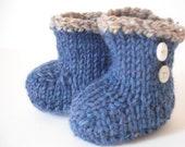 Baby booties- handknit- size 0-3 months
