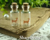 4pcs 35x16mm Handmade Clear Glass Photo Wishing Bottle Vials Pendants (Deer) --  HC109A