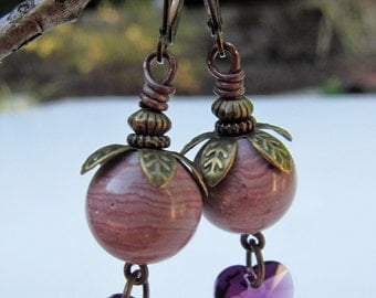 Purple Hearts and Pink Jasper Vintage Style Antiqued Bronze Earrings