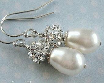 Bridal Jewelry - Pearl Bridal Earrings - Crystal Rhinestone and Teardrop Pearl Earrings in White or Ivory - Wedding Jewelry by JaniceMarie