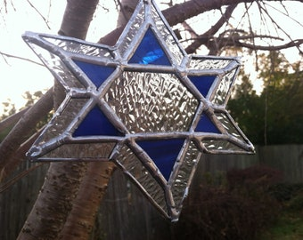 Stained Glass Star of David Suncatcher
