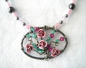 Rose  Bush of Love  Pendant Necklace  Handmade Pink Metal Flower