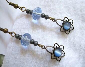 Light Blue Beaded Long Slender Bronze Earrings Handmade
