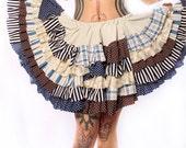 Steampunk Circle Skirt. Gothic Lolita ruffles, earth tones cream brown blue Patchwork, polka dots plaid stripes