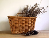 Vintage Wicker Basket Rattan Woven Wall Hanging Rustic Organizer